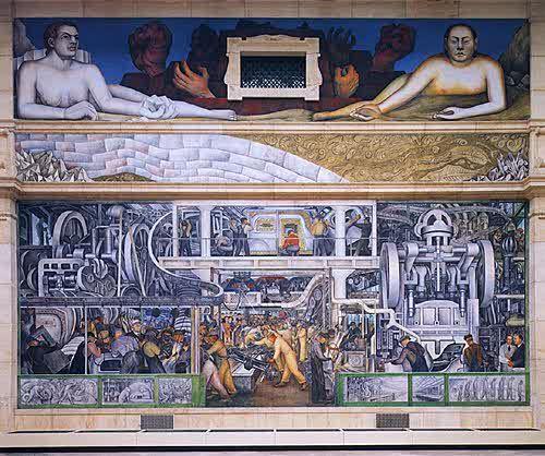 Hombre y Máquina pared sur por Diego Rivera