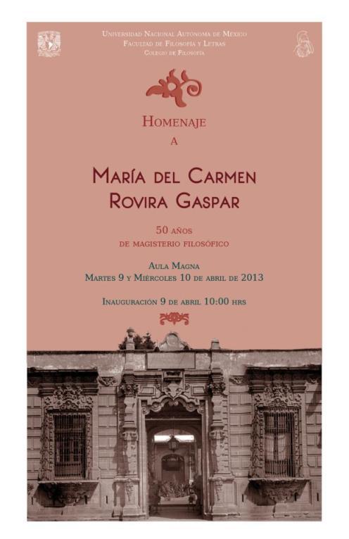 Homenaje Carmen Rovira 50 años magisterio filosófico