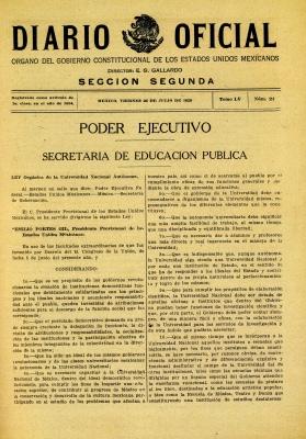 Diario Oficial. Autonomía Universitaria