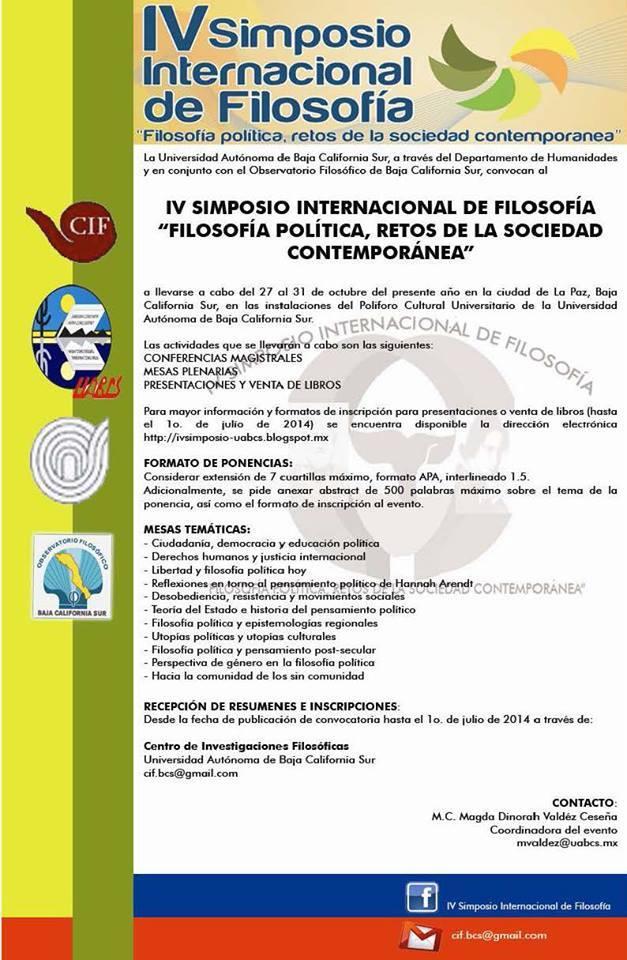 Convocatoria IV Simposio Internacional de Filosofía