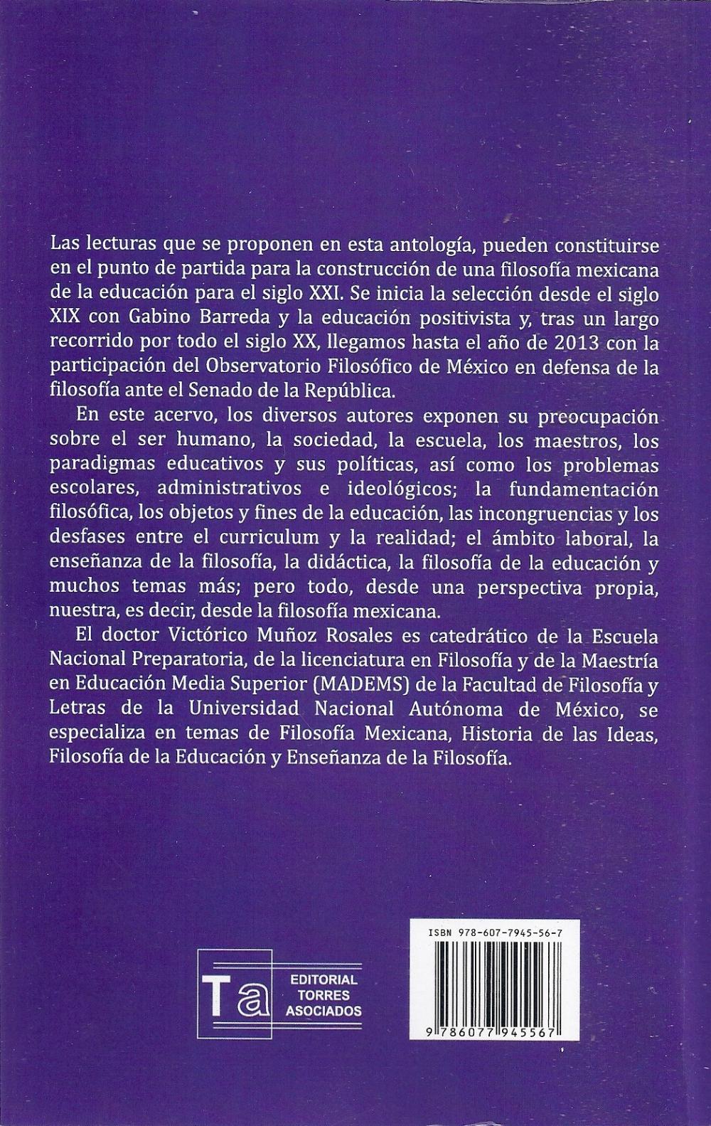 Contraportada, Filosofía mexicana de la educación