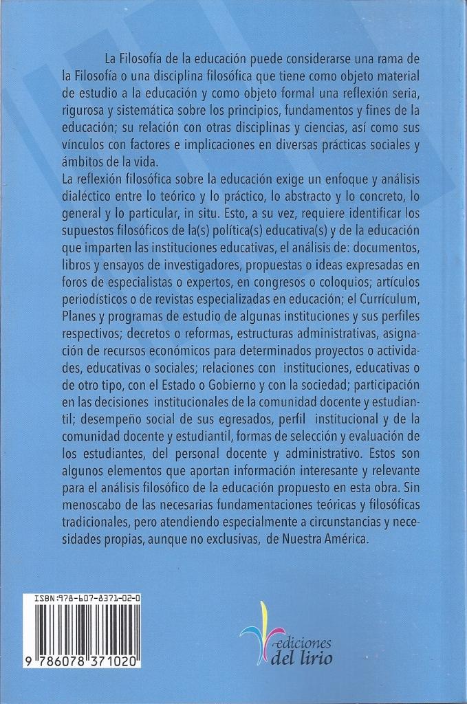 Contraportada, Romero, Filosofía de la educación