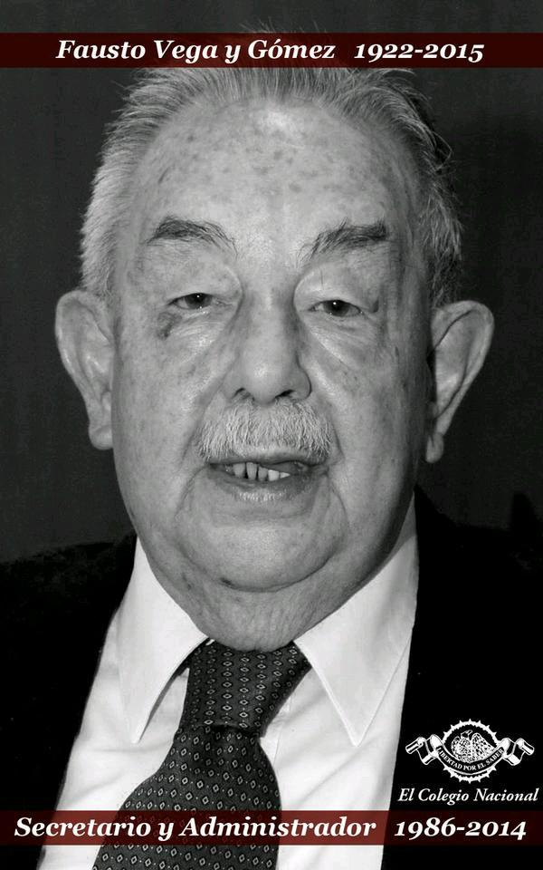 Fausto Vega y Gómez. Imagen difundida por El Colegio Nacional.