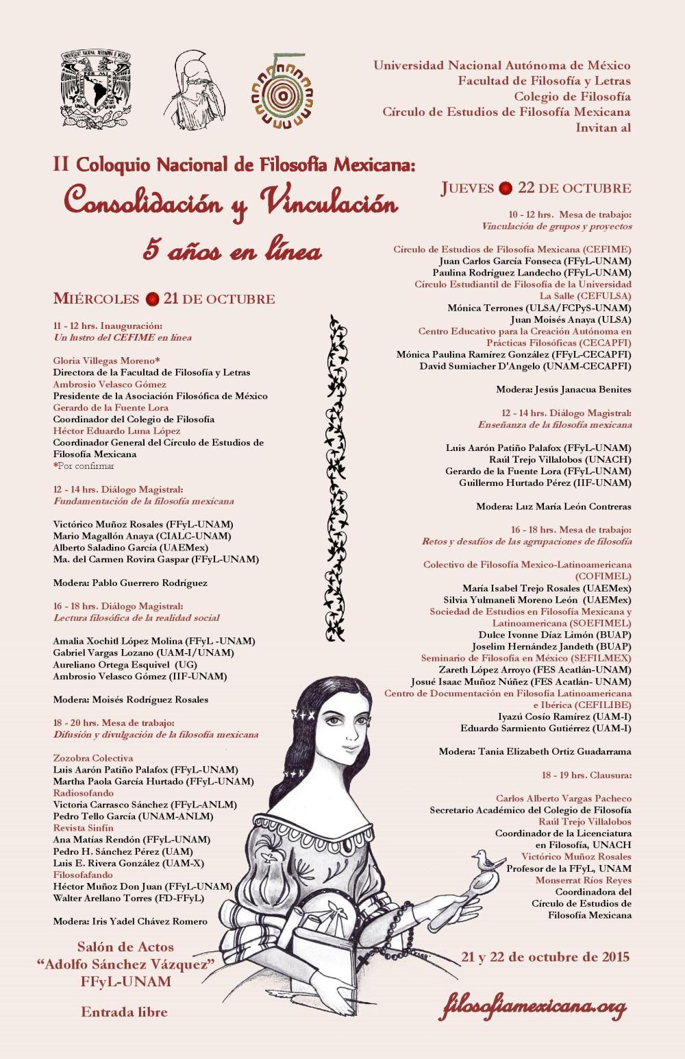 Cartel II Coloquio Nacional CEFIME page