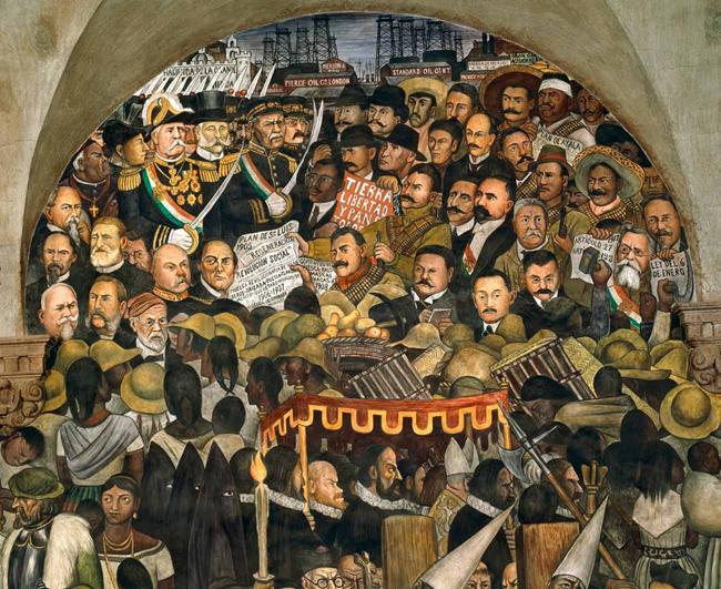 """Fragmento de """"Epopeya del pueblo mexicano"""", mural de Diego Rivera en el Palacio Nacional."""