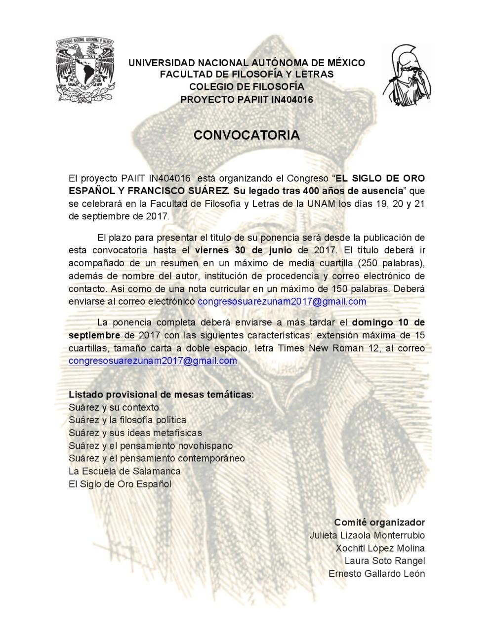 Convocatoria Congreso Suárez 2017-001